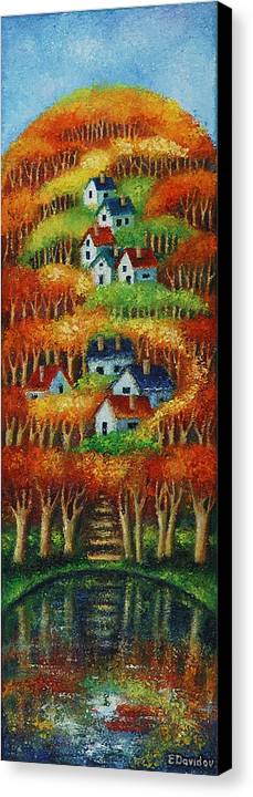 Landscape Canvas Print featuring the painting Indian Fall No 2. by Evgenia Davidov