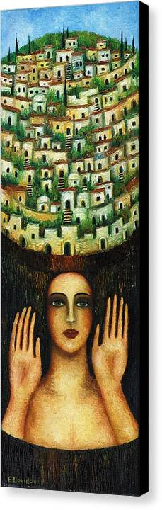 Image Canvas Print featuring the painting Old City No 1. by Evgenia Davidov