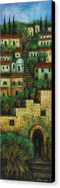 Image Canvas Print featuring the painting Old City No 2. by Evgenia Davidov