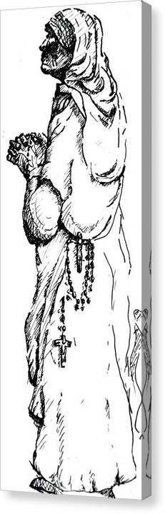 Compassion Canvas Print featuring the drawing Mother Terasa by Dan Earle