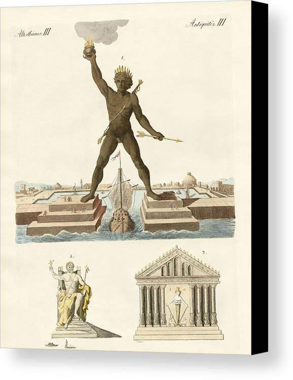 The Colossus Of Rhodes Canvas Print featuring the drawing The Seven Wonders Of The World by Splendid Art Prints