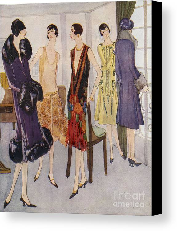 1920�s Canvas Print featuring the drawing 1920s Fashion 1925 1920s Uk Womens by The Advertising Archives