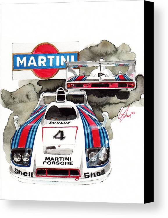 porsche 936 martini racing canvas print featuring the painting porsche martini racing car by yoshiharu miyakawa
