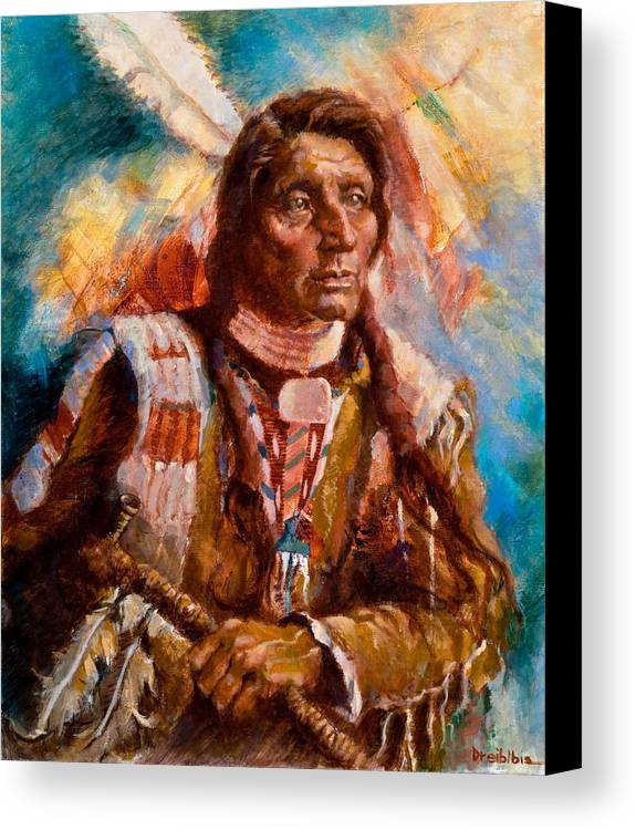 Native American Canvas Print featuring the painting A Man Of Peace by Ellen Dreibelbis