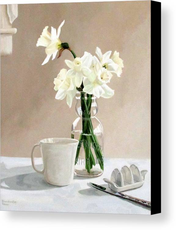 Daffodils Canvas Print featuring the painting A Pint Of Daffodils by Sandra Chase