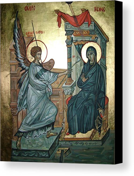 Icons Canvas Print featuring the painting Annunciation by Filip Mihail