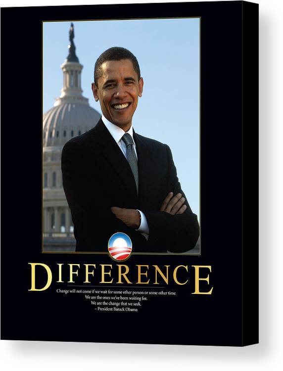 Barack Obama Canvas Print featuring the photograph Barack Obama Difference by Retro Images Archive