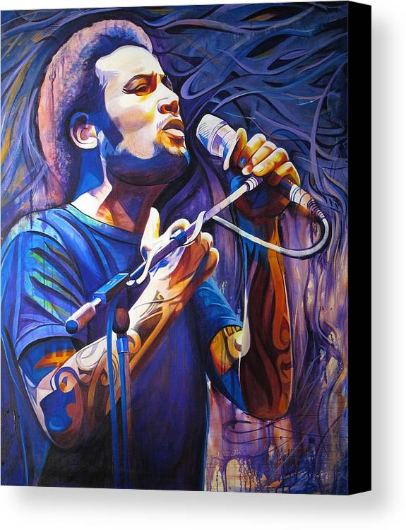 Ben Harper Canvas Print featuring the painting Ben Harper And Mic by Joshua Morton