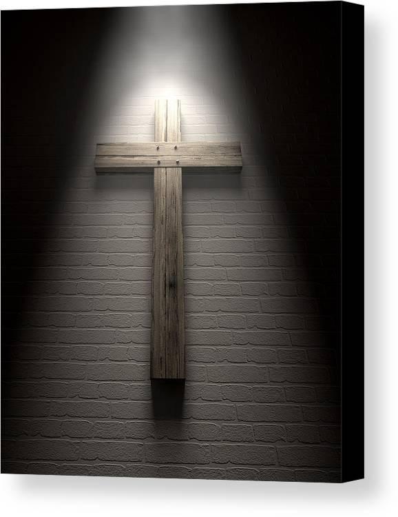 Crucifixion Canvas Print featuring the digital art Crucifix On A Wall Under Spotlight by Allan Swart
