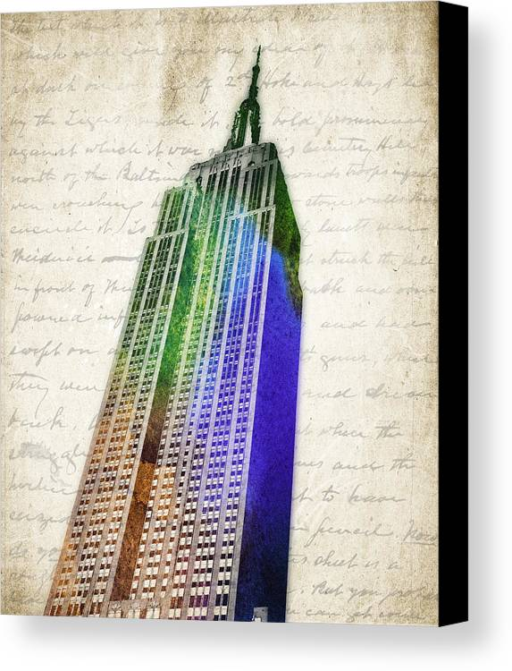 Empire State Building Canvas Print featuring the digital art Empire State Building by Aged Pixel