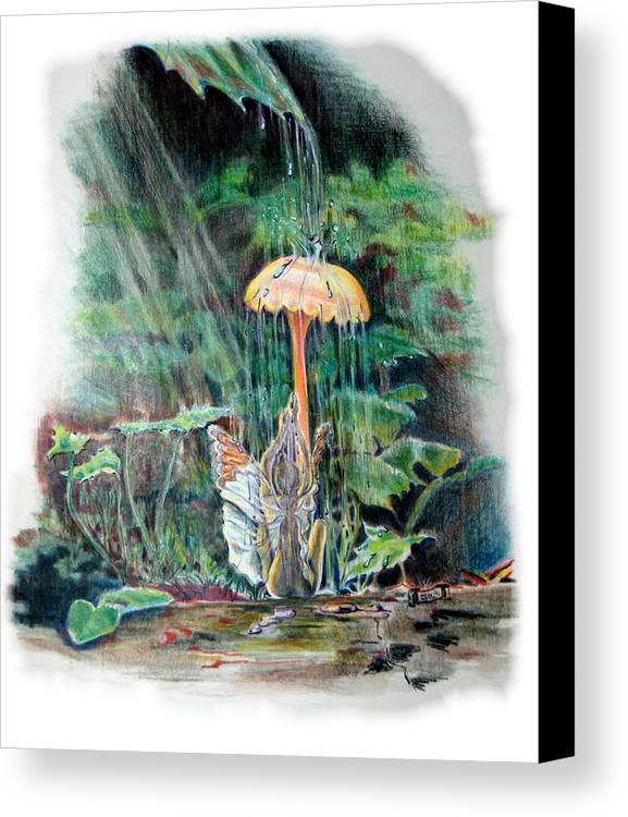 Fairy Canvas Print featuring the drawing Fairy Shower by Susan Moore