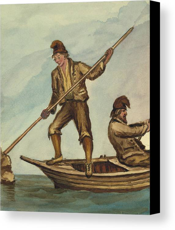Rowboat Canvas Print featuring the painting Faroese Islanders Circa 1862 by Aged Pixel