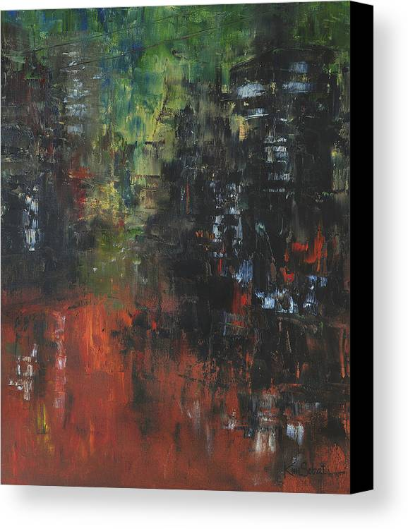Cityscape Canvas Print featuring the painting Friday Night by Kim Sobat