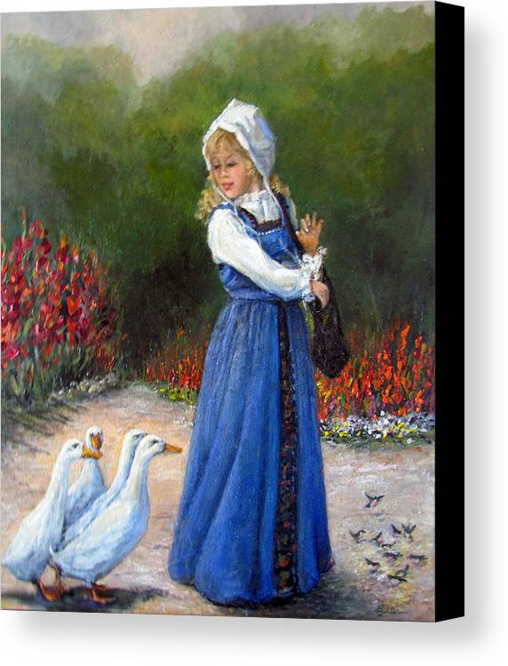 Nature Canvas Print featuring the painting Garden Visitors by Donna Tucker