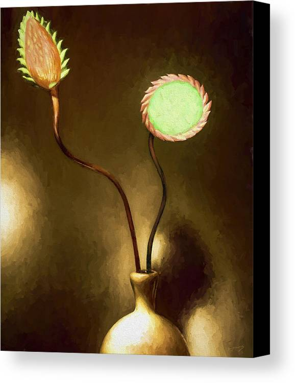 Fine Art Canvas Print featuring the painting Glass Flowers by David Wagner