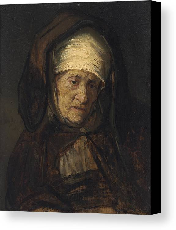 Rembrandt Canvas Print featuring the painting Head Of An Aged Woman by Rembrandt