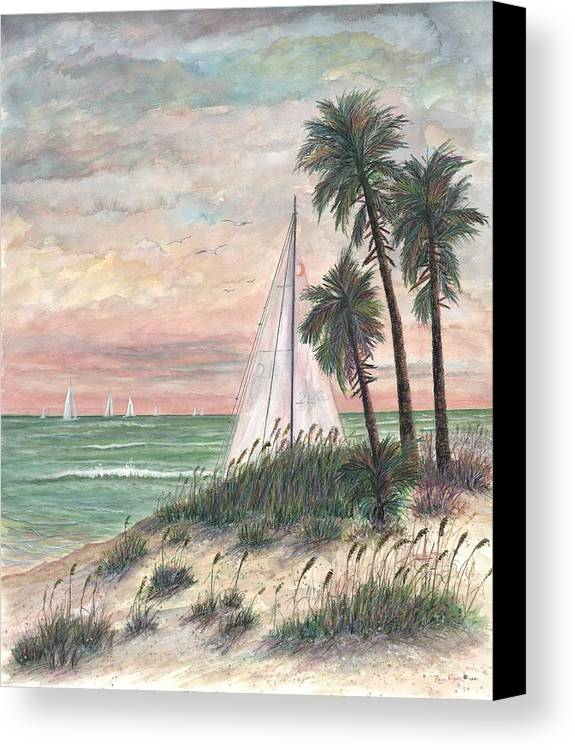 Sailboats; Palm Trees; Ocean; Beach; Sunset Canvas Print featuring the painting Hideaway by Ben Kiger