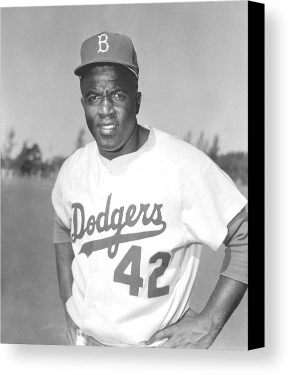 African Americans Canvas Print featuring the photograph Jackie Robinson Poster by Gianfranco Weiss