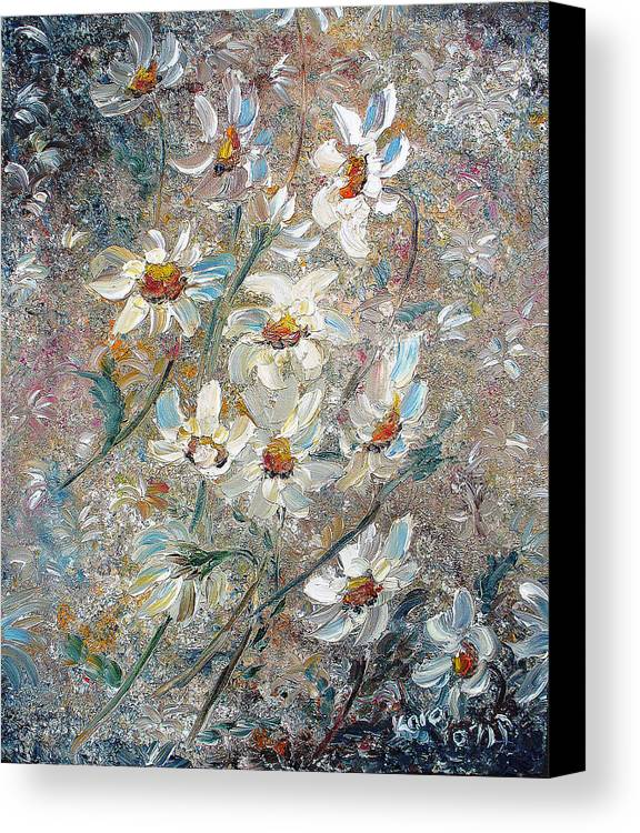 Daisies Painting Abstract Flower Painting Botanical Painting Bloom Greeting Card Painting Canvas Print featuring the painting Just Dasies by Karin Dawn Kelshall- Best