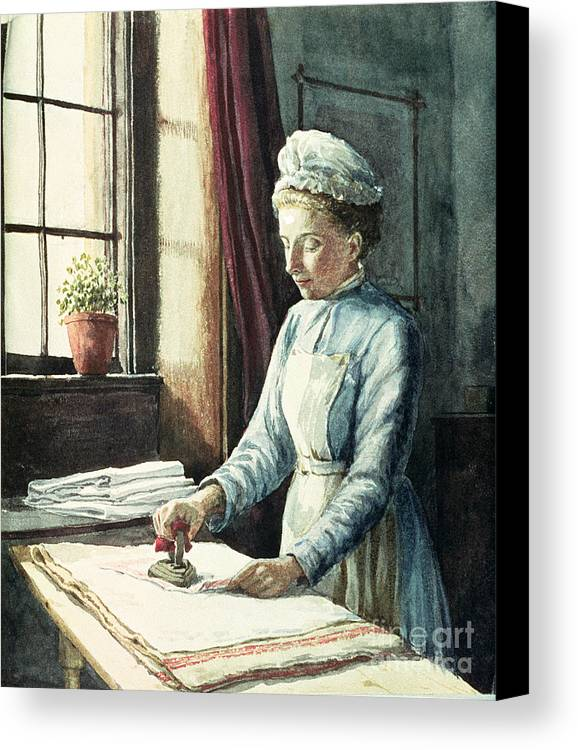 Servant Canvas Print featuring the painting Laundry Maid by English School