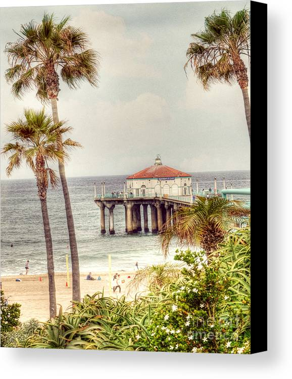 Manhatten Beach Canvas Print featuring the photograph Manhattan Beach Pier by Juli Scalzi