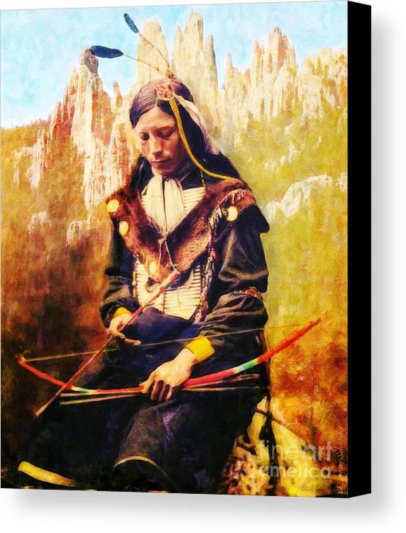 Native American Canvas Print featuring the digital art Oglala Homeland by Lianne Schneider