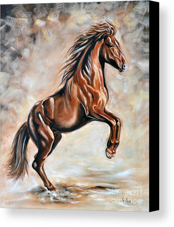 Horse Canvas Print featuring the painting Red Beauty by Ilse Kleyn