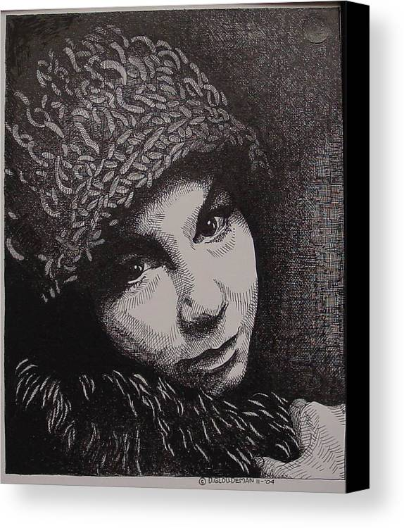 Portraiture Canvas Print featuring the drawing Rena by Denis Gloudeman