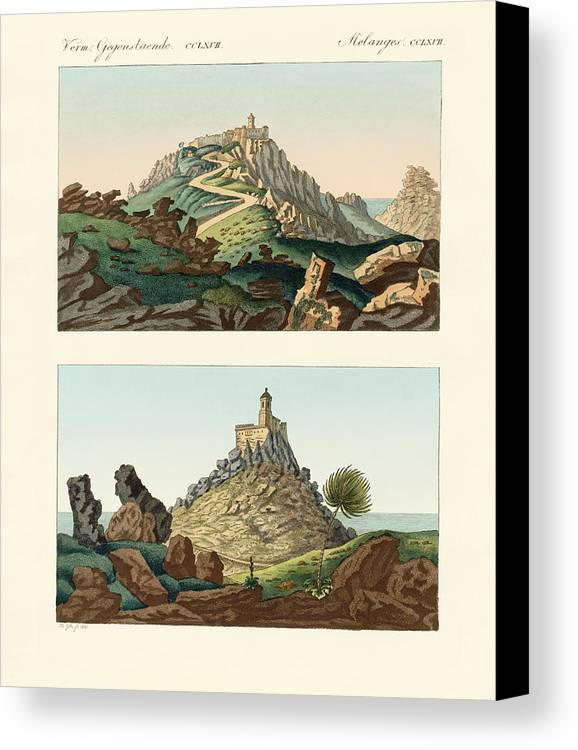 Bertuch Canvas Print featuring the drawing Strange Abbeys In Portugal by Splendid Art Prints