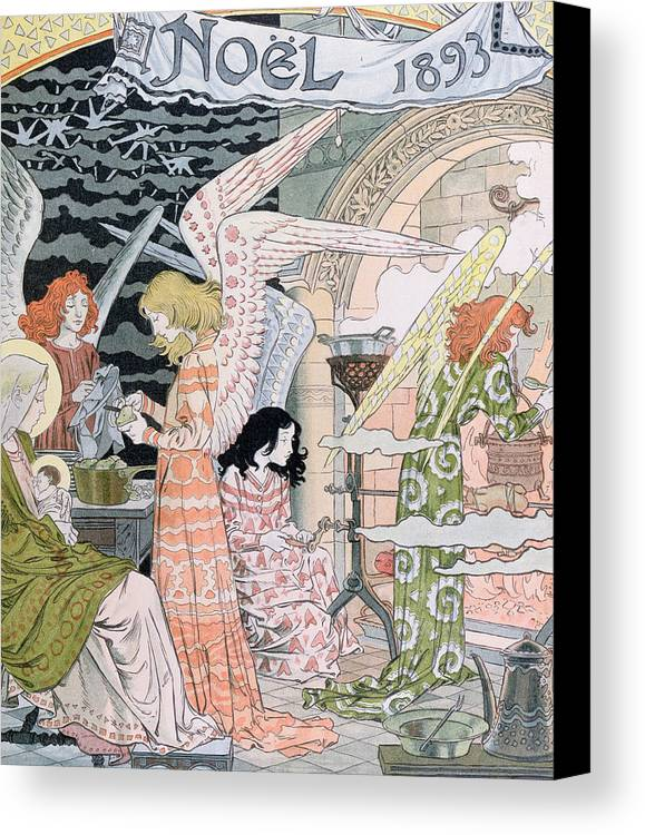 Angels Canvas Print featuring the painting The Angels Kitchen by Eugene Grasset