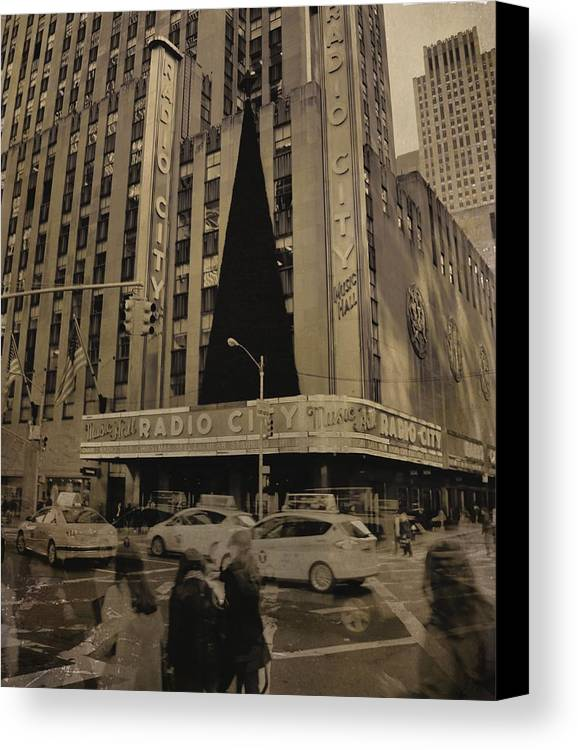 Vintage Radio City Music Hall Canvas Print featuring the photograph Vintage Radio City Music Hall by Dan Sproul