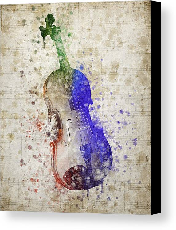 Violin Canvas Print featuring the digital art Violin by Aged Pixel