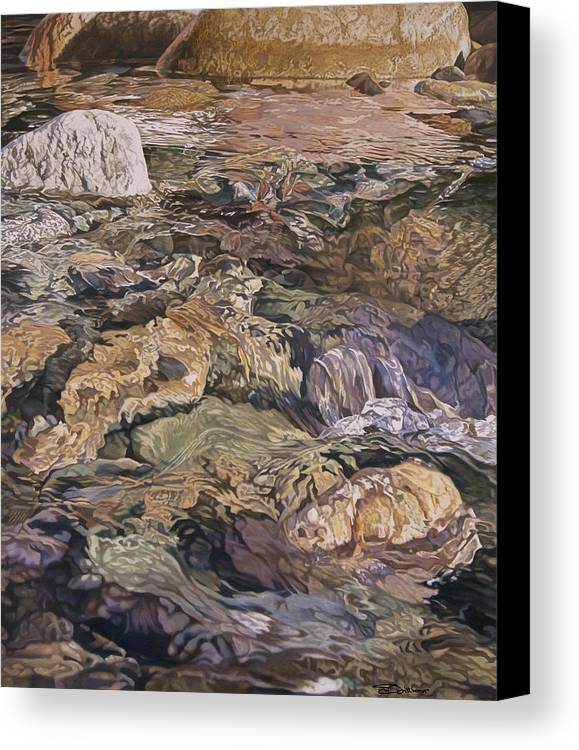 Water Canvas Print featuring the painting White Rock by Stephen Dittberner