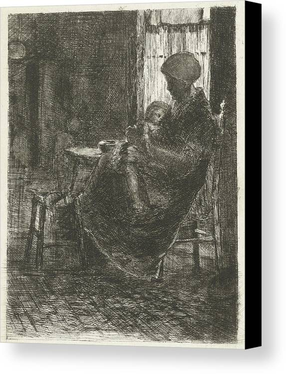 Mother Canvas Print featuring the drawing Woman With A Sleeping Child On Her Lap Asleep Near A Window by Bernardus Johannes Blommers