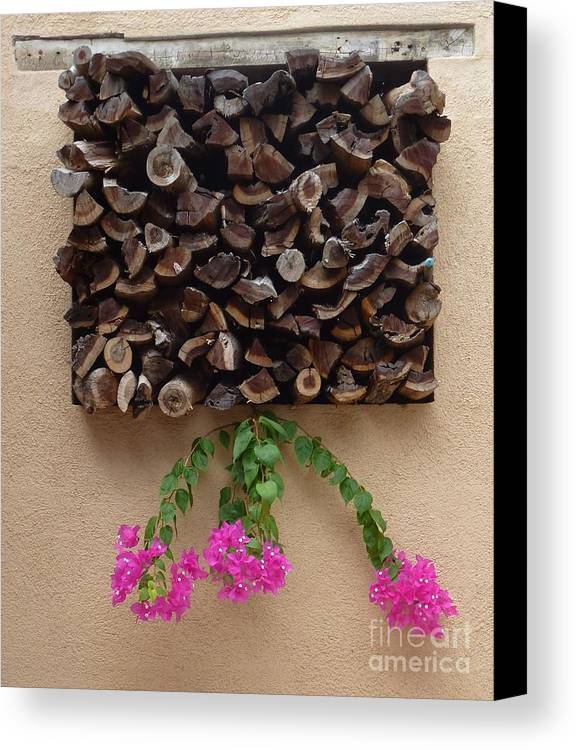 Wood Canvas Print featuring the photograph Woodpile Plus by Barbie Corbett-Newmin