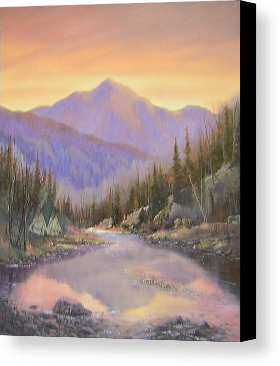 Landscape Canvas Print featuring the painting 060526-2024 Times Past  by Kenneth Shanika