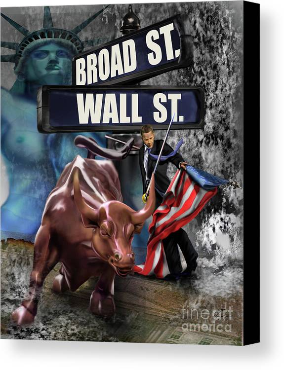 Wall Street Canvas Print featuring the painting Ole Obama - Ole - Ole - Ole by Reggie Duffie