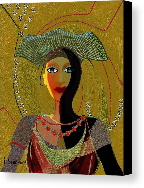 Lovely Canvas Print featuring the painting 052 -  Nana Golden by Irmgard Schoendorf Welch