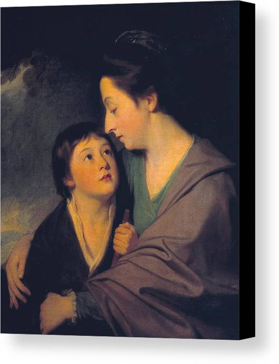 George Romney 1734�1802  Mrs Richard Cumberland And Her Son Charles Canvas Print featuring the painting Mrs Richard Cumberland And Her Son Charles by George Romney