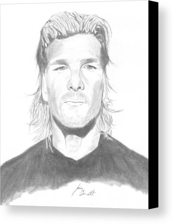 Patrick Swayze Canvas Print featuring the drawing Patrick Swayze by Josh Bennett
