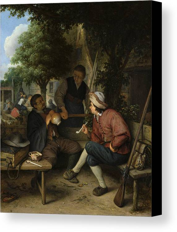 Adriaen Jansz Hendricx Canvas Print featuring the painting Resting Travellers by Adriaen van Ostade