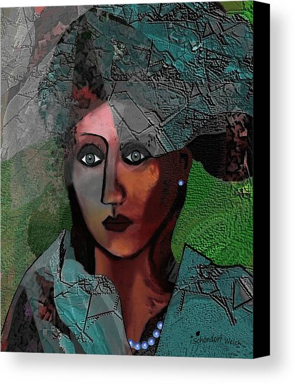239 Canvas Print featuring the digital art 239 - Young Woman In Green Dress 2017 by Irmgard Schoendorf Welch