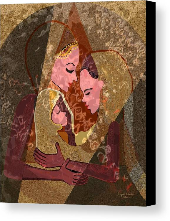 Woman Canvas Print featuring the digital art 297 - Anna Mary Jesus Child by Irmgard Schoendorf Welch