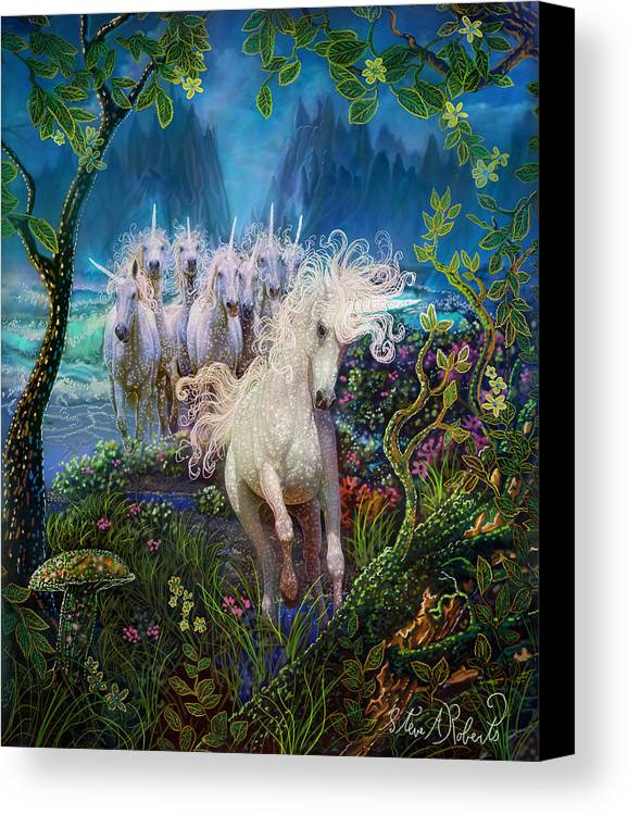 Unicorns Canvas Print featuring the painting A Run On The Beach by Steve Roberts