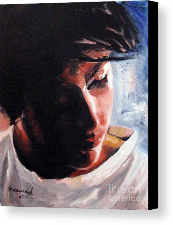 Portrait Canvas Print featuring the painting Adam by Ali Hammoud