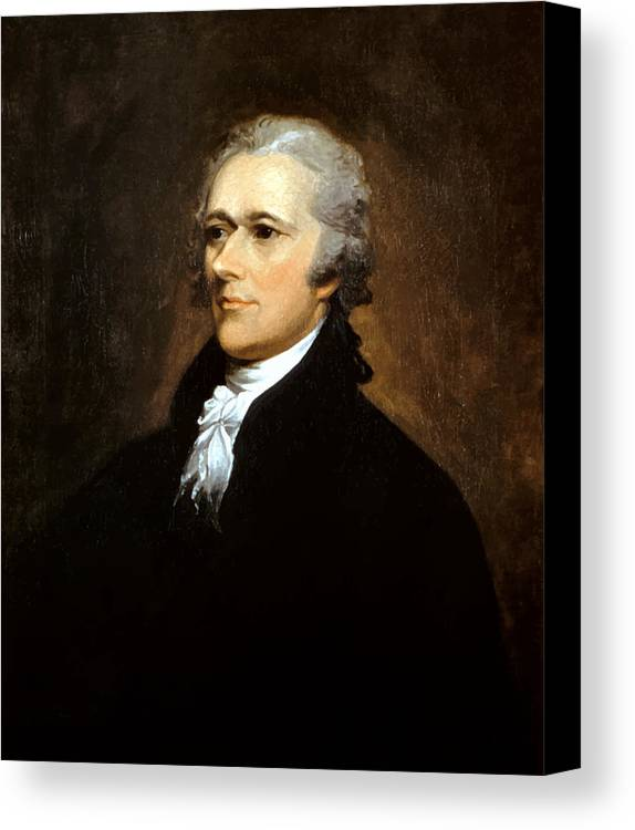 Alexander Hamilton Canvas Print featuring the painting Alexander Hamilton by War Is Hell Store