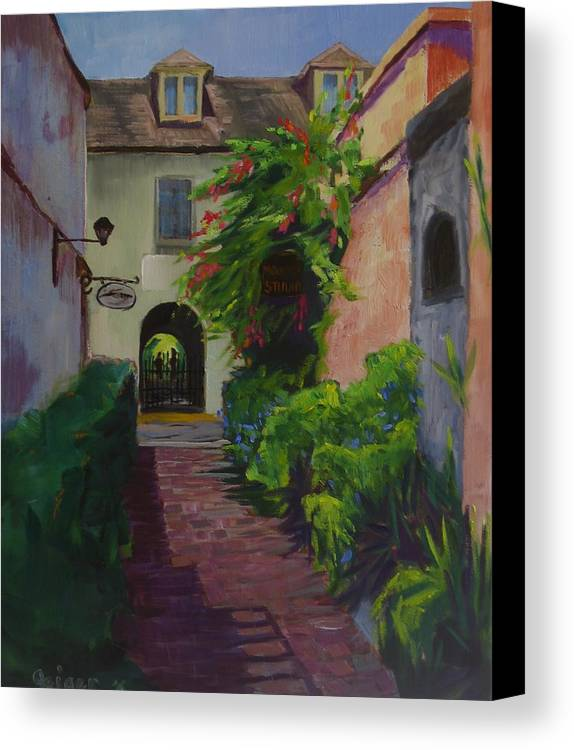 Cityscape Canvas Print featuring the painting Artillery Lane by Pamela Geiger