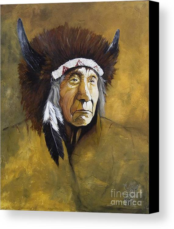 Shaman Canvas Print featuring the painting Buffalo Shaman by J W Baker