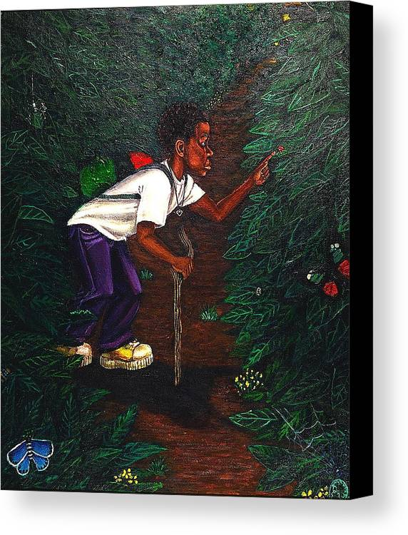 Maliksart Canvas Print featuring the painting Buggin Out1 by Malik Seneferu