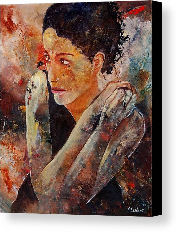 Figurative Canvas Print featuring the painting Candid Eyes by Pol Ledent